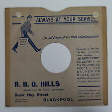 "78rpm 10"" card gramophone record sleeve / cover R H O HILLS , BLACKPOOL"