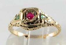 DAINTY COMBO 9CT 9K GOLD COLOMBIAN EMERALD & RUBY FILIGREE RING FREE RESIZE