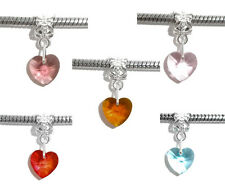 10 Mixed Heart Crystal Dangle Beads Fit Charm Bracelet
