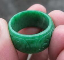 new natural green  jade  hand carved  ring size10