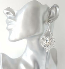 Beautiful 8cm Long silver tone & diamante - crystal chandelier drop earrings #CA