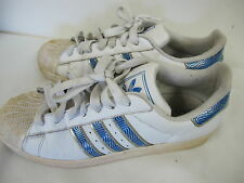 ADIDAS SUPER STAR SNEAKERS SHELL RUBBER TIP BLUE SILVER WHITE MENS 9