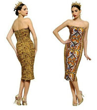 DOLCE GABBANA D&G runway mosaic print Crepe Cady bustier pencil dress IT42 NEW!