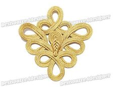 5 Golden Belt Deco Knit Braid Sewing Chinese Frog Closure Knot Fastener Buttons
