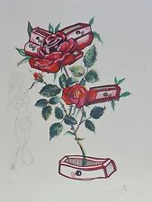 "SALVADOR DALI ""Roses of Memory"" HAND SIGNED COA Surrealistic Flowers Etching"