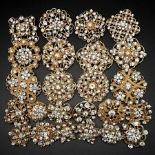 24pc/lot Mixed Alloy Gold Rhinestone Crystal Brooches Pins DIY Wedding Bouquet