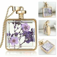Beautiful Real Dried Flowers Locket Pendant Necklace Pressed Fashion Jewelry New