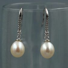 White Pearl Freshwater CZ Sterling Silver Hook Drop Dangle Wire Earrings 08138