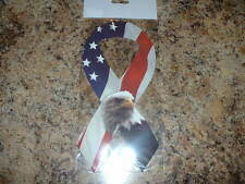 """American Flag With American Eagle Car Magnet Ribbon 8"""" Long New in Package"""