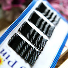 Lots Of 60Pcs Black Flat Hair Clips Flat Top Bobby Pins Grips Barrette Invisible