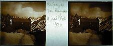 Plaque stéréoscopique photographie les Alpes Refuge du Requin 11 juillet 1926