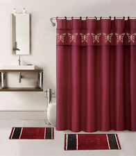 15PC BURGUNDY BUTTERFLY BATHROOM SET BATH MATS SHOWER CURTAIN FABRIC HOOKS