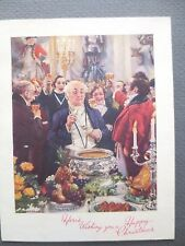 Vintage CHRISTMAS Card Victorian Gentlemen Party  Punchbowl Oakdale Painting 50s