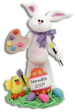 Personalized ARTIST Easter BUNNY Figurine Handmade Polymer Clay by Deb & Co