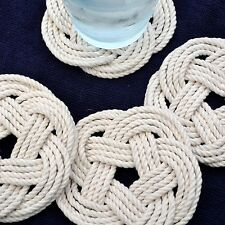 Mystic Knotwork: Nautical Sailor Knot Turks Head Coasters, Set of 4