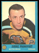1962 63 TOPPS HOCKEY 19 ANDRE PRONOVOST NM BOSTON BRUINS WITH FREE SHIP TO USA
