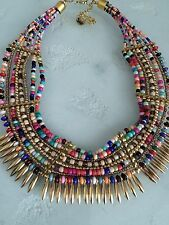 Bohemian Gypsy Multi Color Bead Gold Bib Collar Necklace Festival Hippie Ethnic