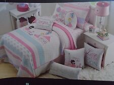 CYNTHIA ROWLEY~BONJOUR PARIS PINK AQUA~4 PIECE TWIN QUILT & TWIN SHEET SET~NEW