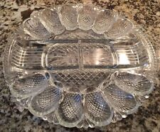 Vintage Cut Glass Deviled Egg Serving Dish