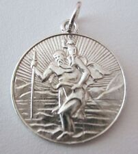 GENUINE SOLID 925 STERLING SILVER ST SAINT CHRISTOPHER TRAVEL PENDANT