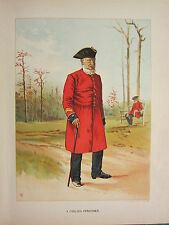 1905 ANTIQUE MILITARY PRINT ~ A CHELSEA PENSIONER ~ BRITISH IMPERIAL FORCES