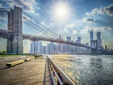 PHOTO CITYSCAPE NEW YORK USA BROOKLYN BRIDGE LANDMARK RIVER POSTER BMP10652