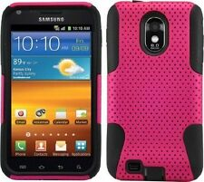 Samsung Galaxy S2 Epic 4G Touch D710 Sprint - HARD & SOFT RUBBER CASE PINK MESH