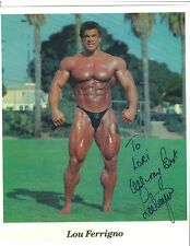 LOU FERRIGNO Mr Universe Bodybuilding Muscle Photo Color Autographed/Signed