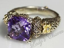 Barbara Bixby Sterling Silver 18k Gold Amethyst Ring Size 9