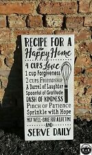 """Primitive Handmade Wooden Sign """"Recipe For a Happy Home"""" Rustic Family Plaque"""