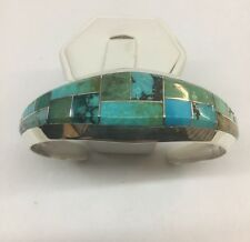 Native American Navajo Sterling Silver Hand Made Turquoise Inlay Cuff Bracelet