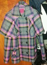 Ted baker pink & black checked coat size 3/M double breasted