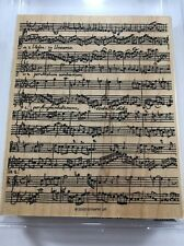 Stampin Up! Musical Score Rubber Stamp Large Wood Mounted Music Theme Background