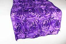 """Rosette Satin Design Table Runner 100% Polyester Serged edge 14"""" by 108"""""""