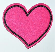 HOT SALE! Lovely pink love heart Iron On patch Shirt Hat Jean shoes