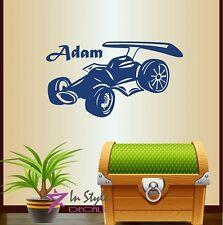 Vinyl Decal Cartoon Sports Car Customized Name Boys Nursery Play Room Decor 370