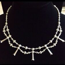 BEAUTIFUL Solid Sterling Silver Squash Blossom Necklace Double Native American