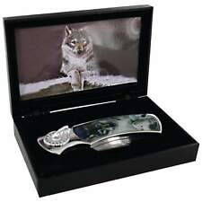 Maxam® Decorative Lockback Wolf Wolves Collectors Knife Collection Gift Box Set