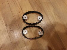 LEGO LOT OF 2 BLACK TANK TREAD PIECES WITH WHITE HUBS PIECES