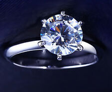 Simulated Round Diamond Cut Solitaire Engagement Wedding Ring 14K 2CT White Gold