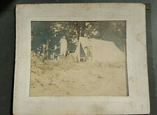 Cabinet Card Photo Men in Hunting Clothes Posing Next to Tent Framed Sepia HS