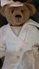 """Plum Street one of a kind 29"""" Bear Hester Sue w Antique Dress and Baby Shoes"""