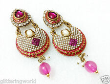 Glittering World Designer Enamel PEARL & DARK PINK Stone Earrings