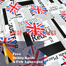 "*12""x60"" Union Jack UK Flag StickerBomb Vinyl Decal Sticker Wrap Sheet Film"