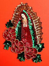 Authentic Messicano attempati APPLIQUE Patch Vergine di Guadalupe con rose