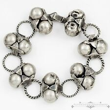 Antique Vintage Art Deco Sterling Silver Mexican Taxco Repousse Domed Bracelet!