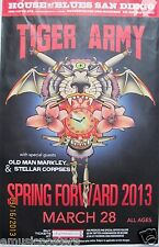 "TIGER ARMY ""SPRING FORWARD"" 2013 SAN DIEGO CONCERT TOUR POSTER-Psychobilly Music"