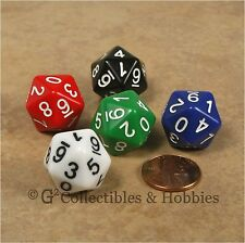 NEW Set of 5 D10 Twenty Sided 0 to 9 Twice - 5 Colors - Game Dice D&D RPG