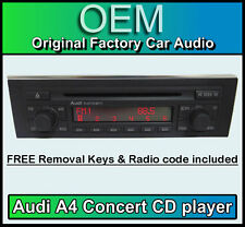 Audi A4 CD player, Audi Concert car stereo head unit Supplied with radio code