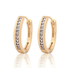 18K Gold Platinum Filled Channel-Setting white Simulated Diamond hoop earrings